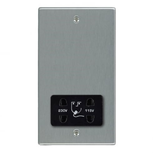 Hamilton Litestat Hartland 74SHSB Satin Steel Shaver Dual Voltage Unswitched Socket (Vertically Mounted)