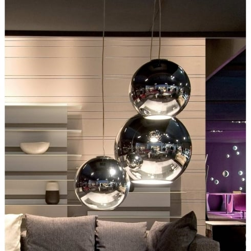 Fontana Arte Globo Di Luce Chrome Interior Pendant Ceiling Light 3644/0CR Small