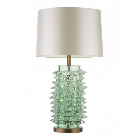 Heathfield & Co. Abies Cylinder G/ABIE/GRN/AB/CN Green Glass Table Lamp