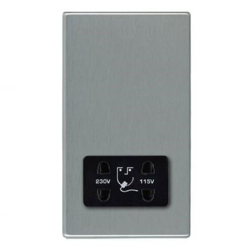 Hamilton Litestat Hartland 74CSHSB Satin Steel Shaver Dual Voltage Unswitched Socket (Vertically Mounted)
