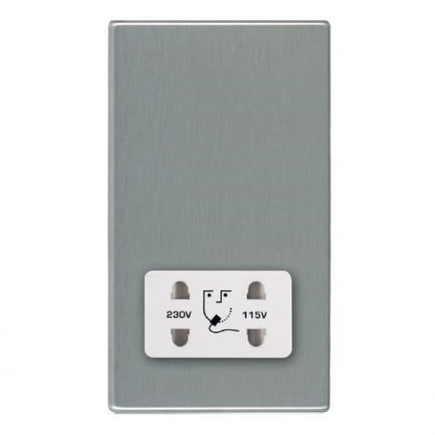 Hamilton Litestat Hartland 74CSHSW Satin Steel Shaver Dual Voltage Unswitched Socket (Vertically Mounted)