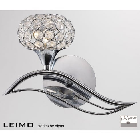 Diyas UK Leimo IL-IL30951/L Polished Chrome Crystal Single Light Switched Wall Light Left Hand
