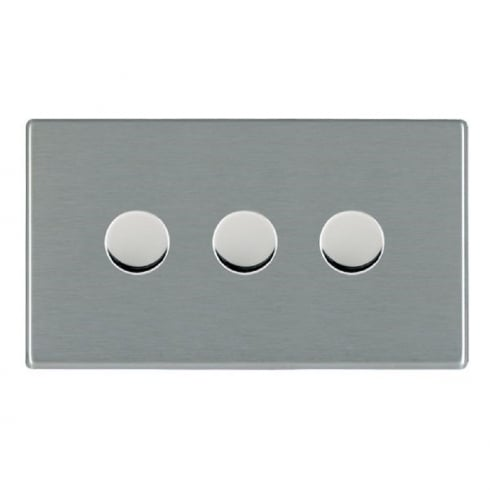 Hamilton Litestat Hartland 74C3X40 Satin Steel 3 gang 400W 2 Way Leading Edge Push On/Off Resistive Dimmer