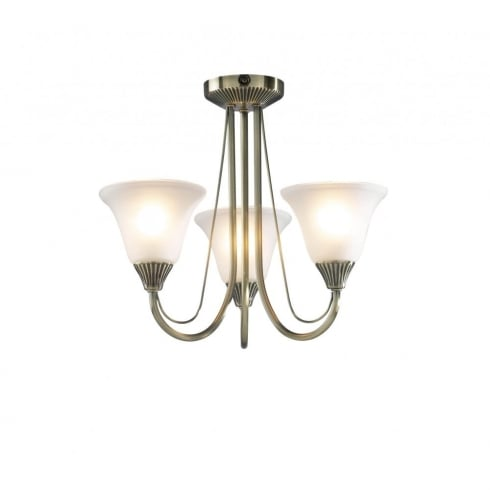 Dar Boston Three Light Semi Flush Ceiling Light Antique Brass