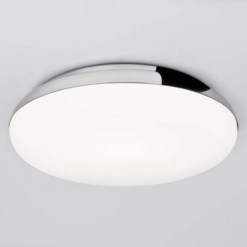 Astro Altea Flush Ceiling Light Polished Chrome with Opal Glass IP44