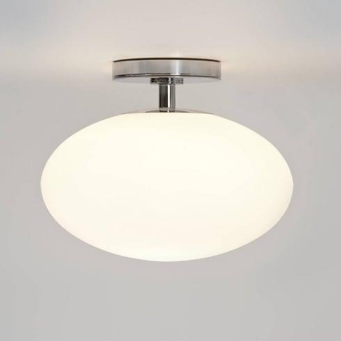 Astro Zeppo Flush Ceiling Light White Glass and Polished Chrome