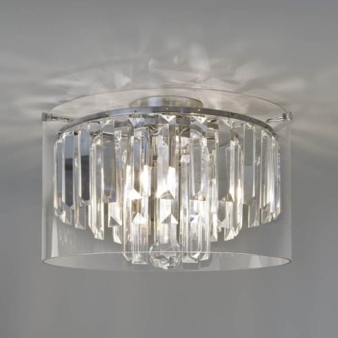 Astro Lighting Asini 7169 Unswitched Chrome Crystal Glass Droplets Semi Flush Ceiling Light