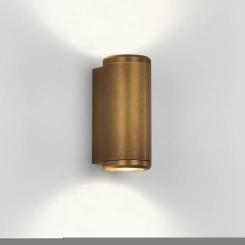 Astro Jura Twin Outdoor Surface Up and Down Wall Light Antique Brass