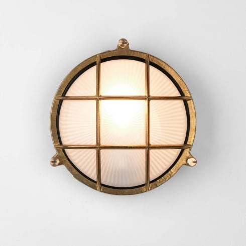Astro Thurso Round Outdoor Surface Wall Light Antique Brass