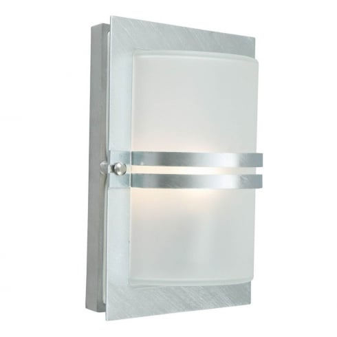 Elstead Lighting Basel E27 Galvanised Frosted BASEL E27 GAL F Exterior Wall light