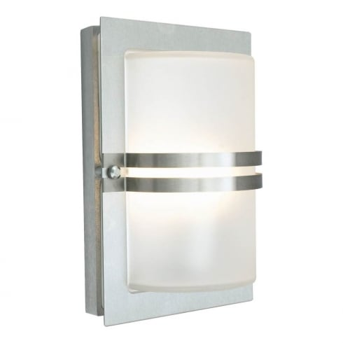Elstead Lighting Basel E27 Stainless Steel Frosted BASEL E27 S/S F Exterior Wall Light