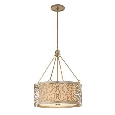Elstead Arabesque 4 Light Pendant Ceiling Light Silver