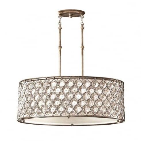 Elstead Lucia Oval Pendant Light Silver