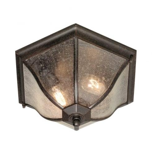 Elstead New England Outdoor Medium Flush Ceiling Lantern Bronze