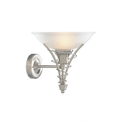 Searchlight Electric Linea 5227SS Satin Silver With Opal Glass Shade Wall Light