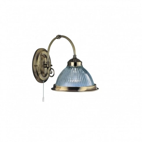 Searchlight Electric American Diner 9341-1 Antique Brass With Clear Ribbed Glass Wall Light