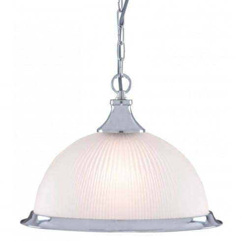 Searchlight Electric American Diner 1044 Satin Silver With Opaque Ribbed Glass Shade Pendant