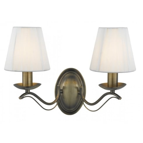 Searchlight Electric Andrietti 9822-2AB Antique Brass With Faux Silk Shades 2 Light Wall Light