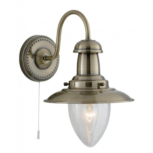 Searchlight Electric Fisherman 5331-1AB Antique Brass With Clear Seeded Glass Shade Wall Light