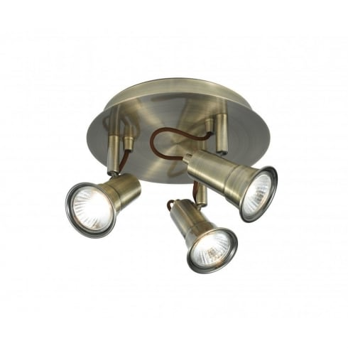 Searchlight Electric Eros 1223AB Antique Brass 3 Light Bar Ceiling Spot Light