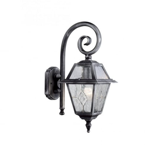 Searchlight Genoa 1515 Black & Silver Cathedral Styled Glass Wall Lantern