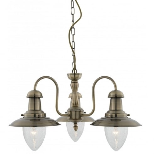 Searchlight Electric Fisherman 5333-3AB Antique Brass With Clear Seeded Glass 3 Light Pendant