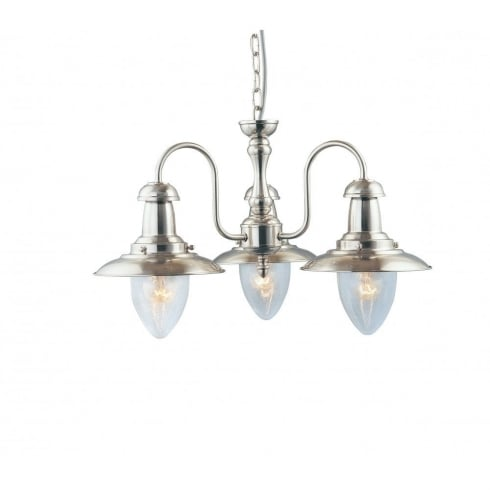 Searchlight Electric Fisherman 5333-3SS Satin Silver With Clear Seeded Glass 3 Light Pendant