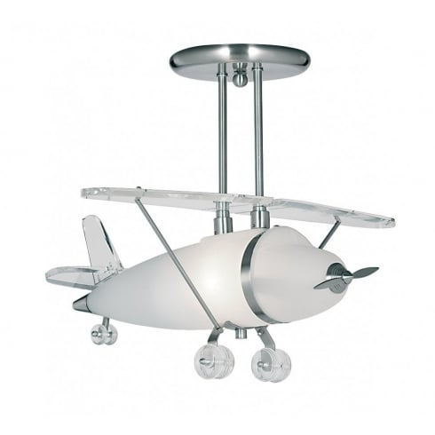 Searchlight Electric Novelty 737 Satin Silver Aeroplane Ceiling Light