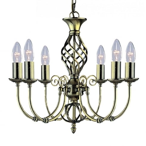 Searchlight Zanzibar 8396-6 Antique Brass Pendant