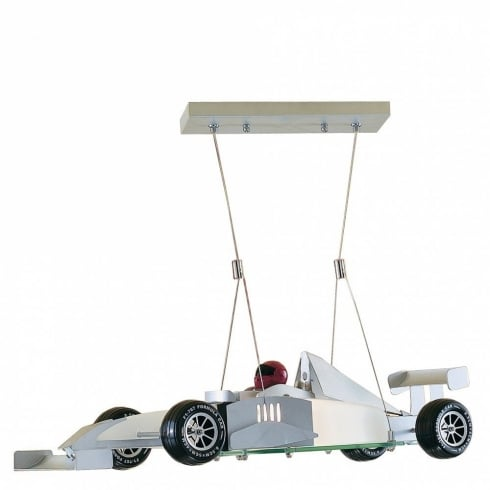 Searchlight Electric Novelty F1 Satin Silver Racing Car Ceiling Light