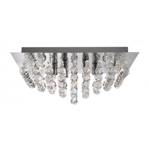 Searchlight Electric Hanna 6406-6CC Chrome With Crystal Detail Flush Ceiling Light