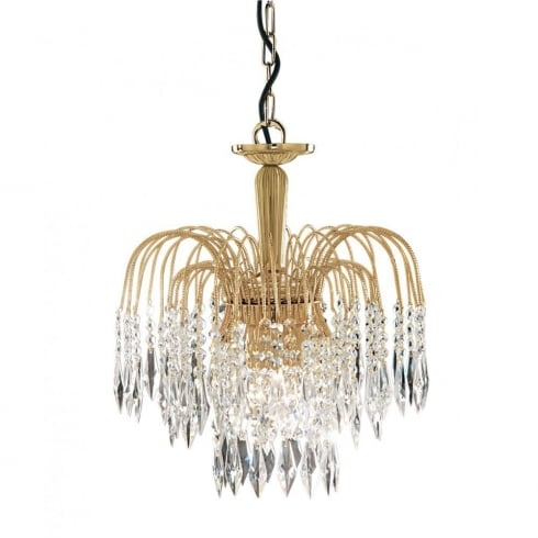 Searchlight Waterfall 5173-3 Gold With Crystal Detail Pendant