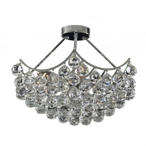 Searchlight Electric Sassari 6555-5CC Chrome With Crystal Detail Semi-Flush Chandelier