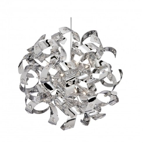 Searchlight Electric Curls 9812-12CC Chrome With Crystal Detail Pendant