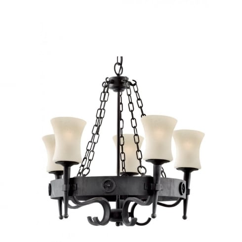 Searchlight Electric Cartwheel 0815-5BK Wrought Iron With Scavo Glass Pendant