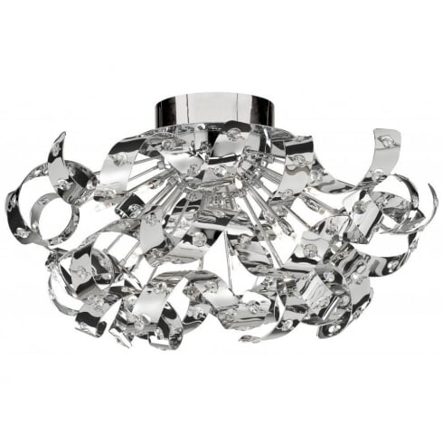 Searchlight Electric Curls 5812-12CC Chrome With Crystal Detail Semi-Flush Ceiling Light