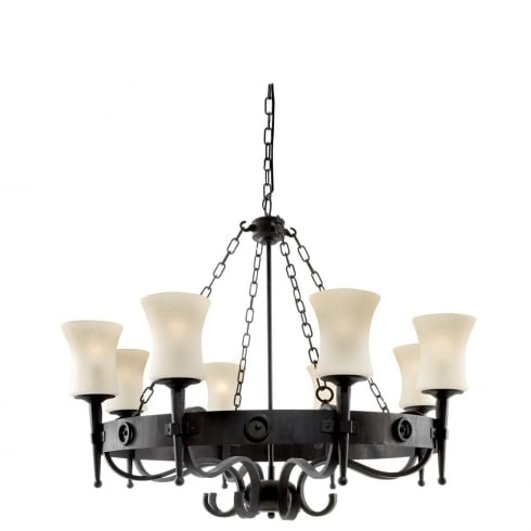 Searchlight Electric Cartwheel 0818-8BK Wrought Iron With Scavo Glass Pendant