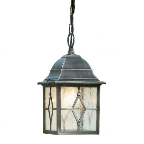Searchlight Electric Genoa 1641 Black & Silver With Cathedral Styled Glass Pendant