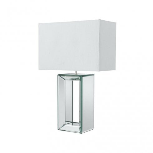 Searchlight Mirror Reflection Table Lamp 1610 With Faux Silk Shade