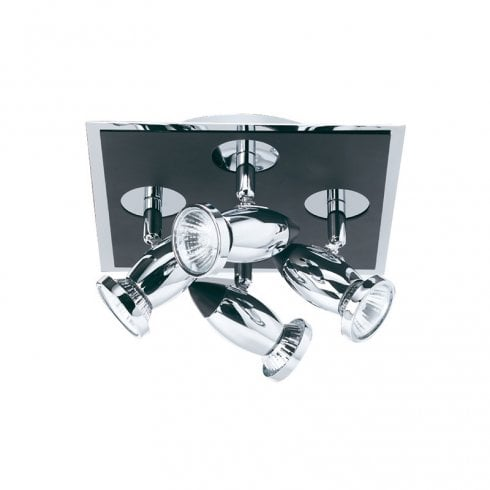 Searchlight Comet Matt Black and Chrome 4 Light Square Spot