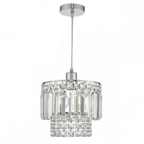 Dar Kyla Easy Fit Pendant Ceiling Light Polished Chrome Glass