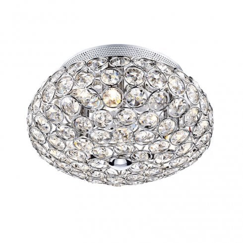 Dar Frost 3 Light Flush Ceiling Light Polished Crystal