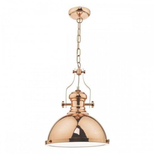 Dar Arona 1 Light Pendant Ceiling Light Polished Copper