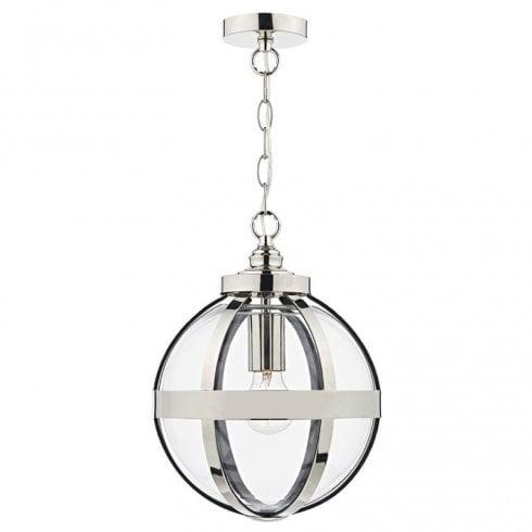 Dar Heath 1 Light Pendant Ceiling Light Polished Nickel