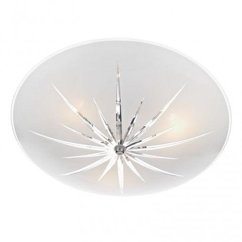 Dar Albany 3 Light Semi Flush Ceiling Light White/Polished Chrome