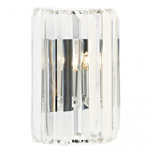 Dar Sketch 1 Light Surface Wall Light, Crystal, Polished Chrome