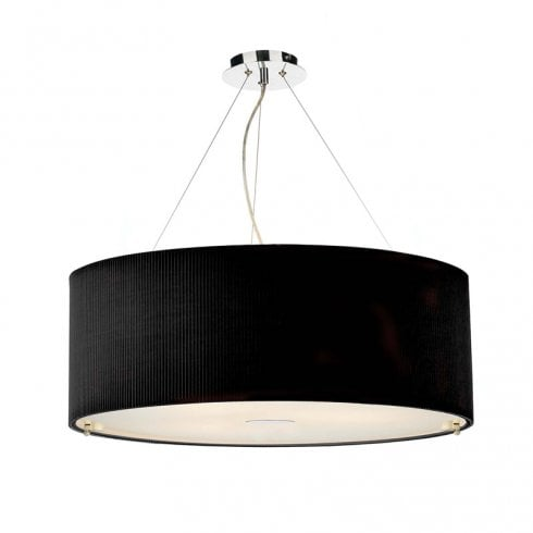 Dar Zaragoza 6 Light Pendant Ceiling Light Polished Chrome Black