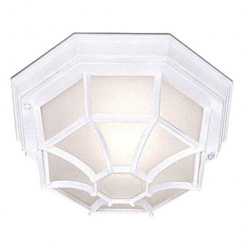 Searchlight Hexagonal Flush Outdoor Ceiling Light 2942WH White