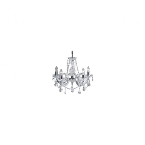 Searchlight Marie Therese 399-5 Chandelier Polished Chrome & Crystal