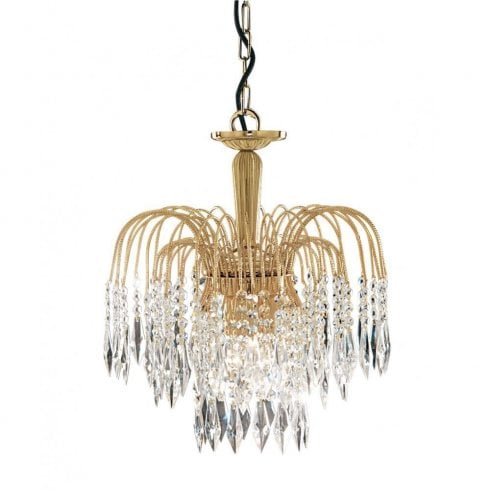 Searchlight Waterfall 5173-3 Chandelier Gold and Crystal